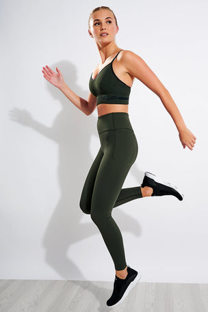 Under Armour Seamless Low Long Heather Sports Bra - Baroque Green/Black image 2 - The Sports Edit