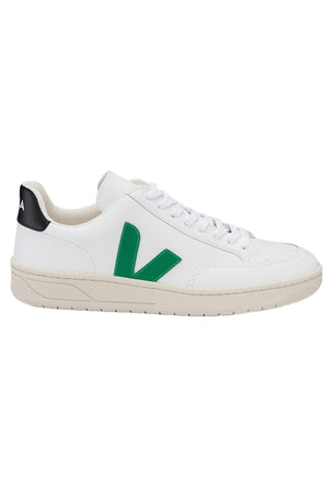 Veja V-12 Leather - White Emeraude Black image 1 - The Sports Edit