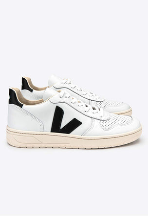 Veja V-10 Leather Extra White Black - Women's image 2 - The Sports Edit