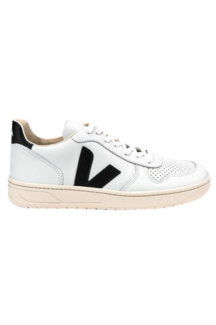 Veja V-10 Leather Extra White Black - Women's image 1 - The Sports Edit