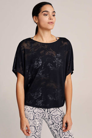 Varley Almo Burnout Tee  - Sheer Black image 2 - The Sports Edit