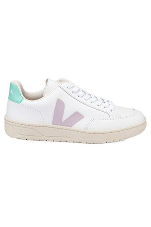 Veja V-12 Leather - Extra White/Parme/Turquoise | Women's image 1 - The Sports Edit