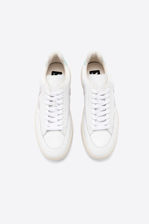 Veja V-12 Leather - Extra White/Parme/Turquoise | Women's image 4 - The Sports Edit