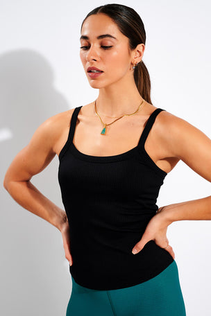 Year of Ours Abby Built-In Bra Tank - Black image 1 - The Sports Edit