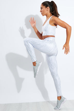 Year of Ours Tiger Foil Sport Legging - White/Silver image 2 - The Sports Edit