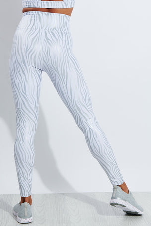 Year of Ours Tiger Foil Sport Legging - White/Silver image 3 - The Sports Edit