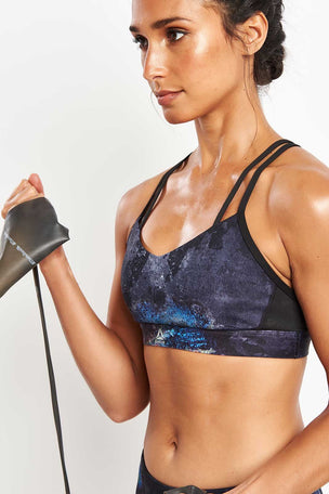Reebok Hero Strappy Oil Slick Padded Bra - Black image 3 - The Sports Edit