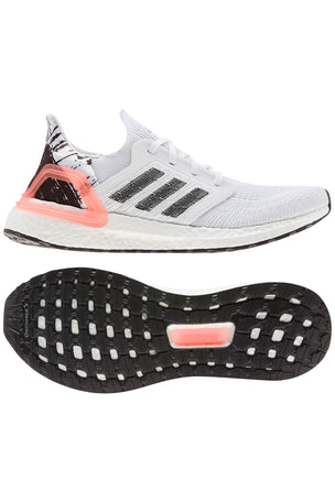 Adidas Ultraboost 20  - Cloud White/Core Black/Signal Coral image 5 - The Sports Edit
