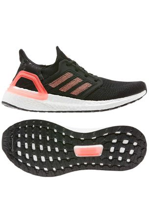 Adidas Ultraboost 20  - Core Black/Signal Coral/White image 8 - The Sports Edit
