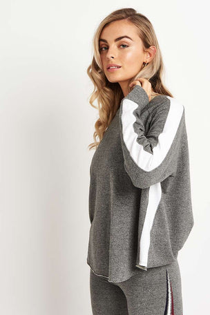 Sundry Long Sleeve Raglan Sweatshirt - Grey/White image 1 - The Sports Edit