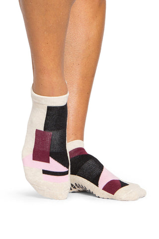 Pointe Studio Linh Grip Sock- Oatmeal/Black image 1 - The Sports Edit