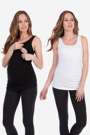 Seraphine Maternity & Nursing Tops - Black & White Twin Pack image 6 - The Sports Edit