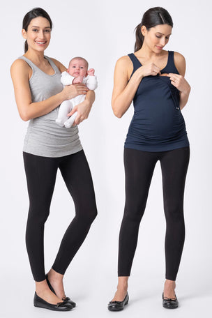 Seraphine Maternity & Nursing Tops - Grey & Navy Twin Pack image 7 - The Sports Edit