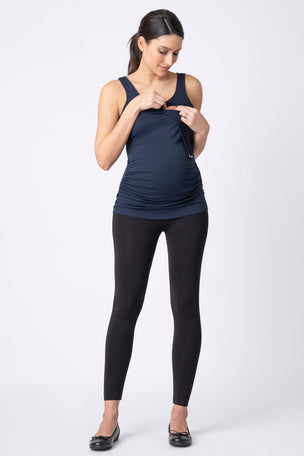Seraphine Maternity & Nursing Tops - Grey & Navy Twin Pack image 4 - The Sports Edit