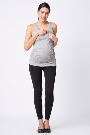 Seraphine Maternity & Nursing Tops - Grey & Navy Twin Pack image 5 - The Sports Edit