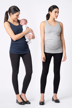 Seraphine Maternity & Nursing Tops - Grey & Navy Twin Pack image 3 - The Sports Edit