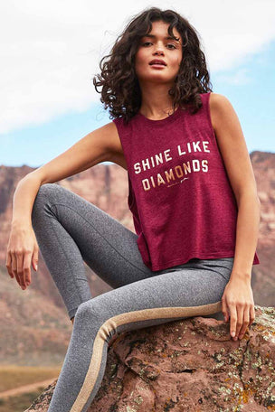 Spiritual Gangster Shine Like Diamonds Crop Tank - Garnet image 5 - The Sports Edit