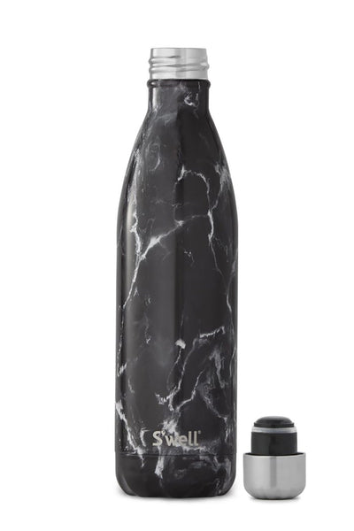S Well Black Marble Water Bottle 750ml The Sports Edit
