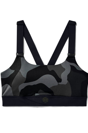 Under Armour RUSH Mid Camo Sports Bra - Black image 4 - The Sports Edit