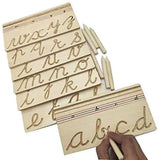 GoAppuGo Activity Toys - Wooden Writing Practice Boards - English Cursive Alphabet