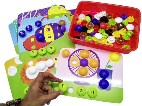 GoAppuGo Activity Toys - Large Buttons - 3 Letter Words, Spell the Objects