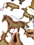 GoAppuGo Activity Toys - Wooden Lacing Toys - Domestic Animals (set of 8)