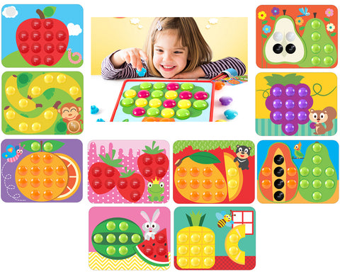 GoAppuGo Fruits Learning Toys (70 plastic buttons, 10 activity cards) Toys gifts  for 2 3 4 year old boys girls Kids