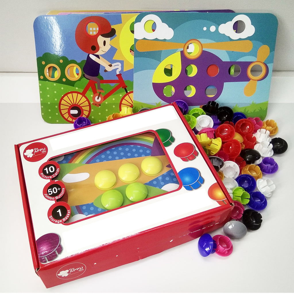 Goappugo Vehicles Learning Toys 10 Activity Cards 70 Plastic Buttons