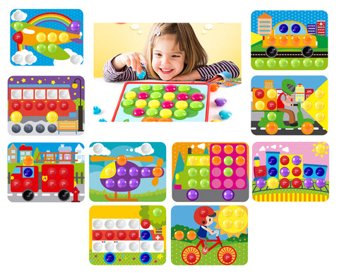 GoAppuGo Vehicles Learning Toys (10 activity cards, 70 plastic buttons) toys gifts for 2 3 4 year old boys girls kids
