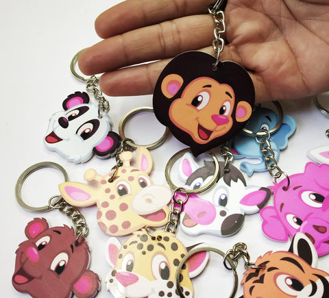 GoAppuGo Pack of 10 Cute Animals Keychains - Return Gifts for Kids Birthday