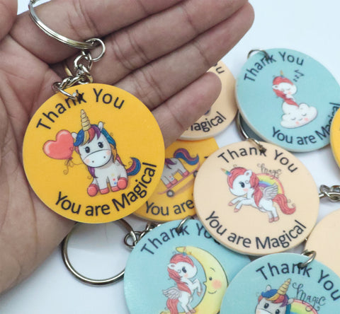 GoAppuGo Pack of 9 Unicorn Thank You Keychains - Return Gift for Kids Birthday Party