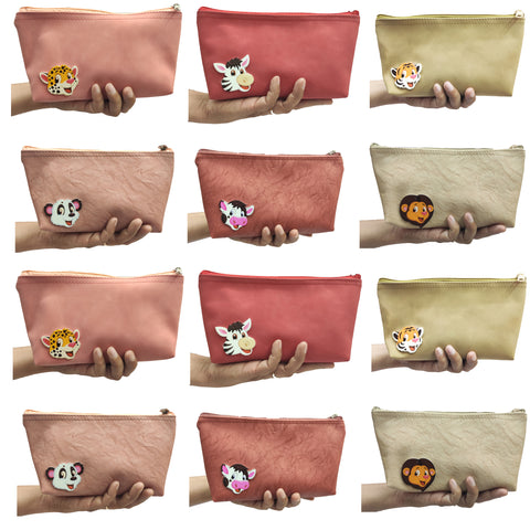 GoAppuGo Pack of 12 Animals Theme Pencil Pouches - Kids Return Gifts for Birthday Party