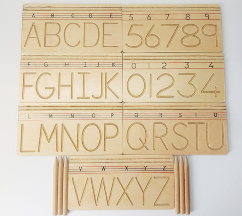 GoAppuGo Activity Toys - Wooden Alphabet and Number Writing Practice boards