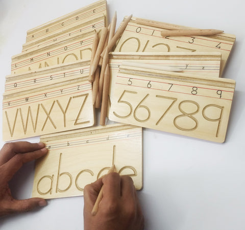 GoAppuGo Activity Toys - Wooden Capital, Small Alphabet and Number Writing Practice boards