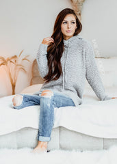 Sleepover Heather Grey Popcorn Hoodie Sweater - Bare Anthology