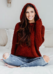 Sleepover Cabernet Popcorn Hoodie Sweater - Bare Anthology