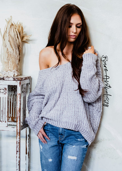 So Fluffy Off Shoulder Fuzzy Sweater (taupe)