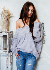 So Fluffy Off Shoulder Fuzzy Sweater (taupe) - Bare Anthology