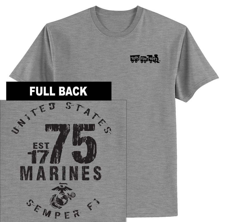 """Pick Your Design"" TFT Front & Back T-Shirt TFT Shirt Marine Corps Direct MARINES EST. 1775 SPORT GRAY S"