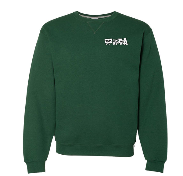 Russell Athletic White/Black Chest Seal Dri Power® Crewneck Sweatshirt TFT Sweatshirt/hoodie marinecorpsdirecttft S DARK GREEN