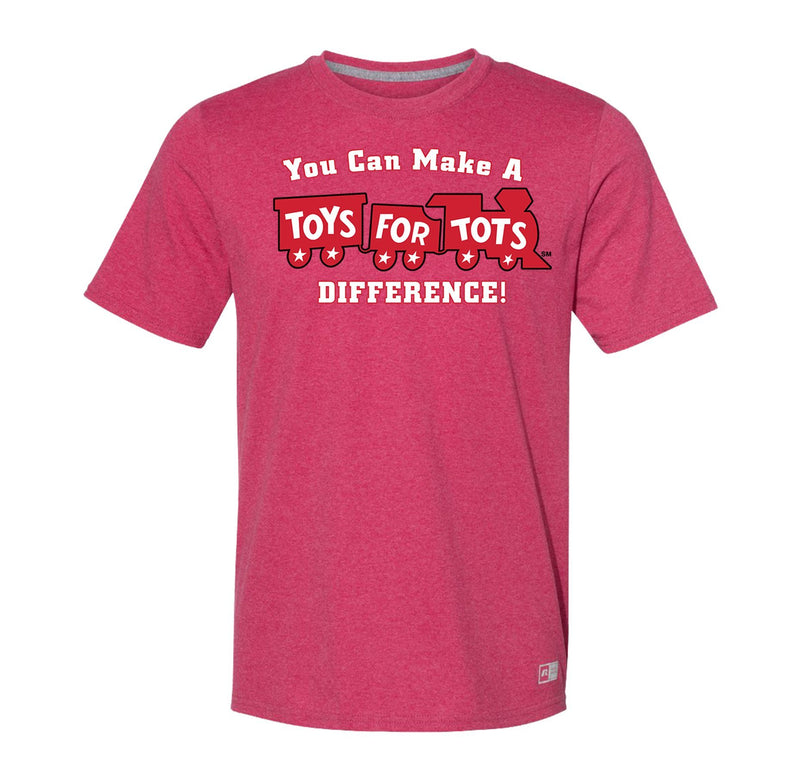 Russell Athletic Make A Difference TFT Train T-Shirt TFT Shirt marinecorpsdirecttft S HEATHER RED