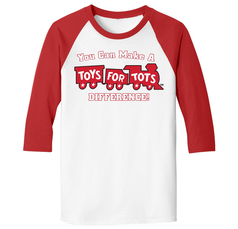 TFT 3/4 Raglan T-Shirt TFT Shirt Marine Corps Direct S WHITE/RED with MAKE A DIFFERENCE