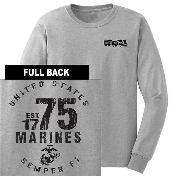 """Pick Your Design"" TFT Front & Back Long Sleeve TFT Shirt Marine Corps Direct MARINES EST. 1775 SPORT GRAY S"