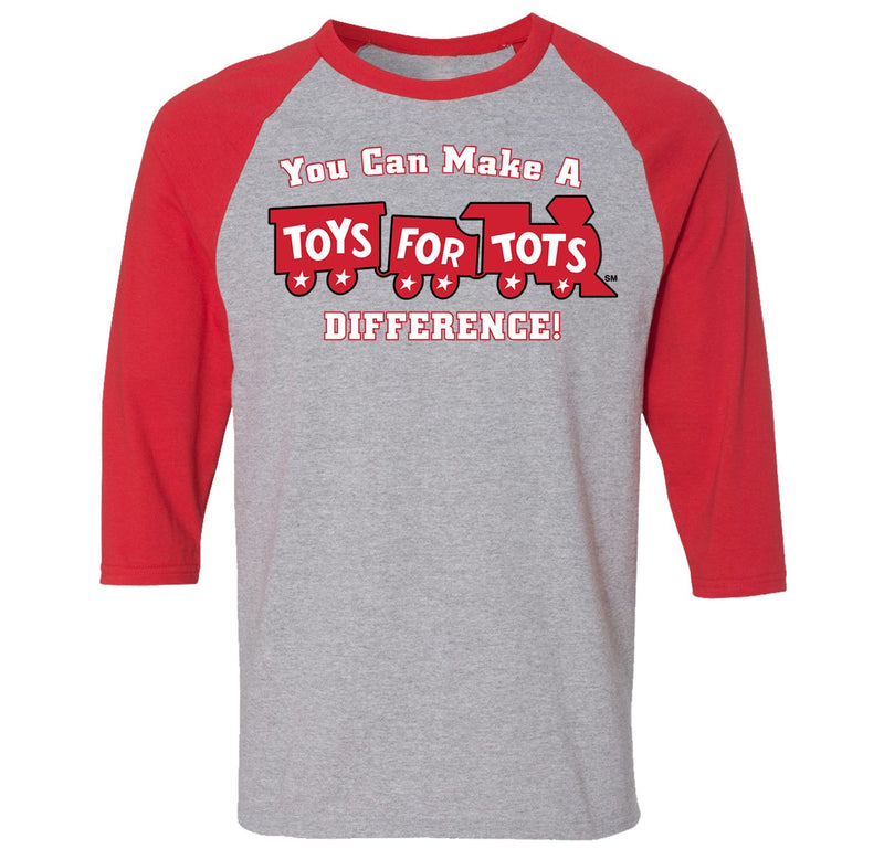 TFT 3/4 Raglan T-Shirt TFT Shirt Marine Corps Direct S GRAY/RED with MAKE A DIFFERENCE