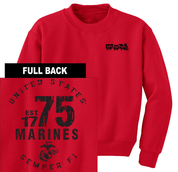 """Pick Your Design"" TFT Front & Back Sweatshirt TFT Sweatshirt/hoodie Marine Corps Direct MARINES EST. 1775 RED S"