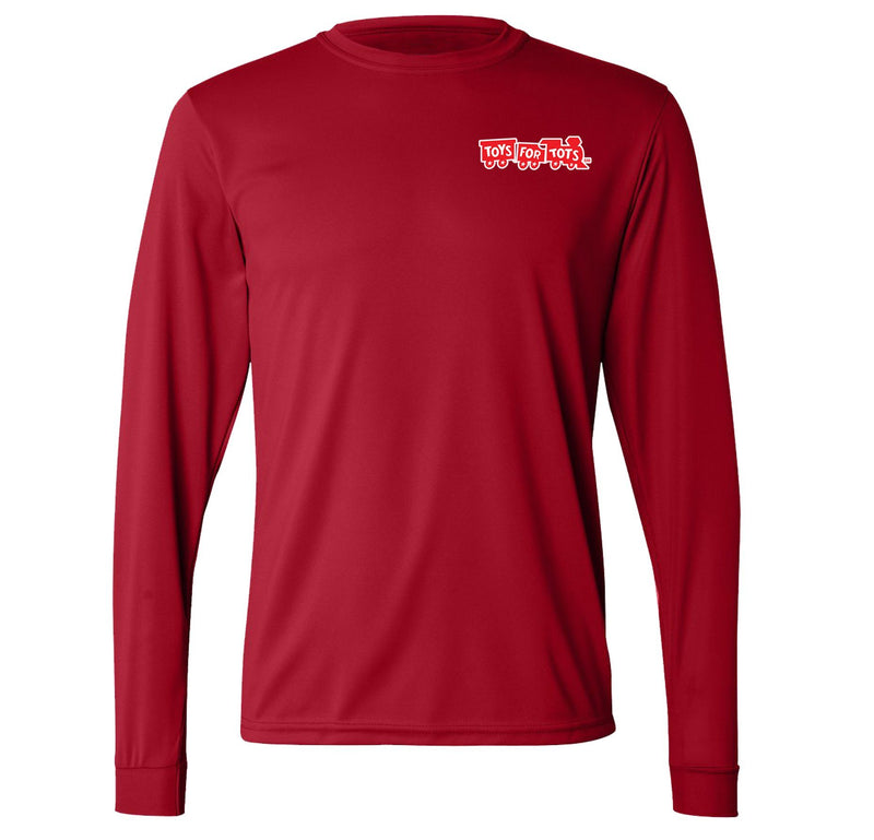 CLOSEOUT: Augusta Dri-Fit Performance Red TFT Chest Seal Long Sleeve TFT Shirt Marine Corps Direct S RED