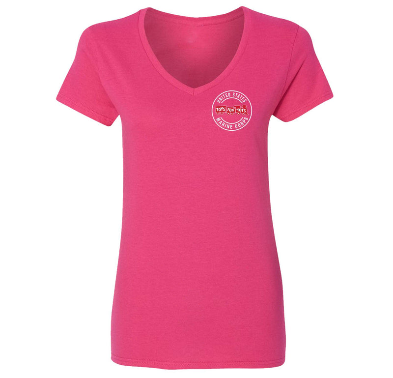 Circle TFT Chest Seal Women's V-Neck TFT Shirt Marine Corps Direct S PINK