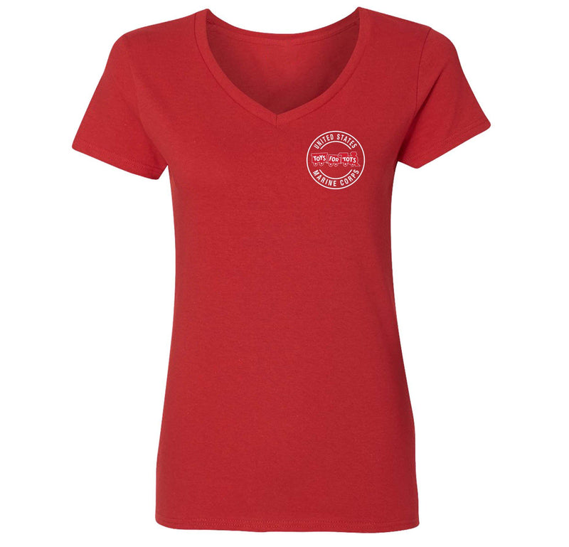 Circle TFT Chest Seal Women's V-Neck TFT Shirt Marine Corps Direct S RED