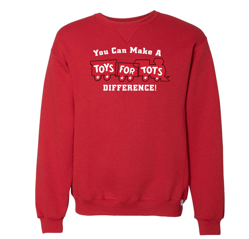 Russell Athletic Make A Difference TFT Train Dri Power® Crewneck Sweatshirt TFT Sweatshirt/hoodie marinecorpsdirecttft S RED