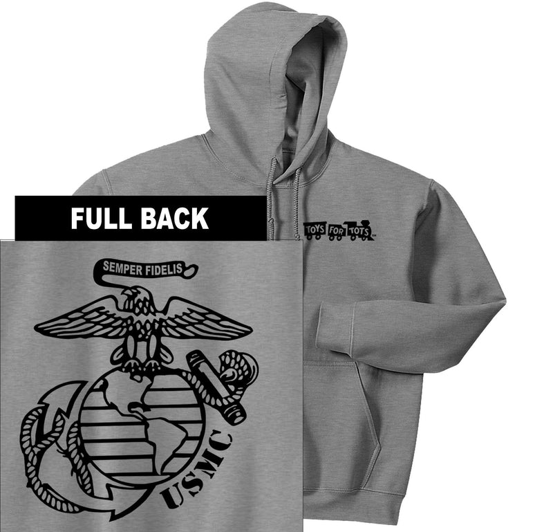 """Pick Your Design"" TFT Front & Back Hoodie TFT Sweatshirt/hoodie Marine Corps Direct BIG EGA SPORT GRAY S"